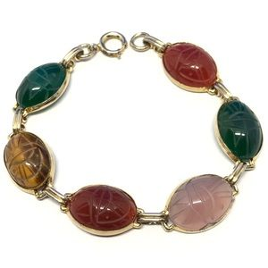 🆕Vintage Semi-Precious Stone Scarab Bracelet